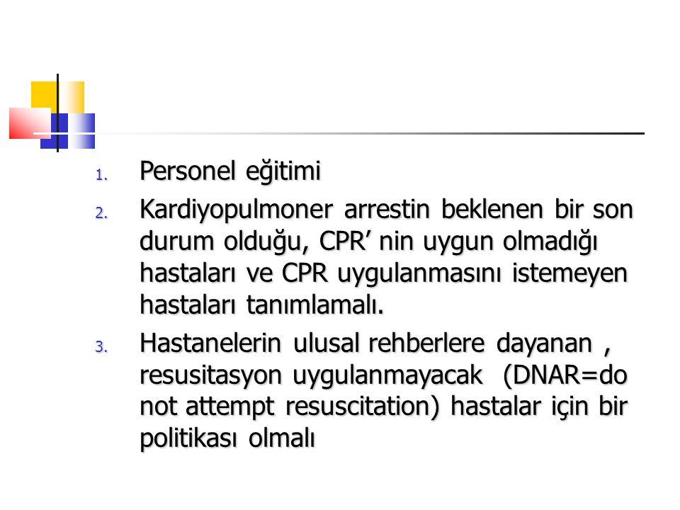 1. Personel eğitimi 2. Kardiyopulmoner arrestin beklenen bir son durum olduğu, CPR' nin uygun olmadığı hastaları ve CPR uygulanmasını istemeyen hastal