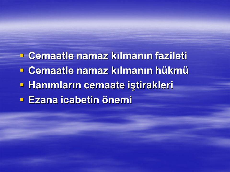 Ezana İcabet:  Ezan-ı Muhammedi bir şeairdir.Yani bir beldenin İslam beldesi olduğunun en mümtaz alametidir.