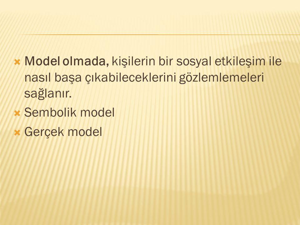  Model olmada, kişilerin bir sosyal etkileşim ile nasıl başa çıkabileceklerini gözlemlemeleri sağlanır.  Sembolik model  Gerçek model