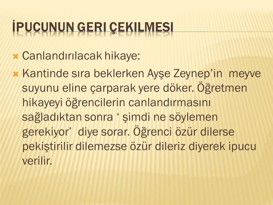  Canlandırılacak hikaye:  Kantinde sıra beklerken Ayşe Zeynep'in meyve suyunu eline çarparak yere döker. Öğretmen hikayeyi öğrencilerin canlandırmas