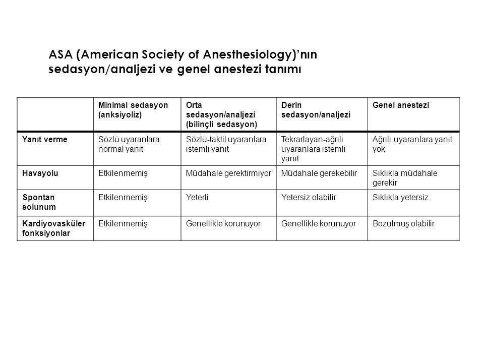 Midazolam Doz: –IV doz: 0,05-0,15 mg/kg –IM doz: 0,05-0,15 mg/kg –Oral / rektal doz: 0,5-0,75 mg/kg (30dk sonra etki) –Pratikte: 1 mg, IV, 50kg hasta için başlangıç dozu –5mg/5mL'lik ampulden 1cc Aynı doz cevaba göre tekrarlanabilir.