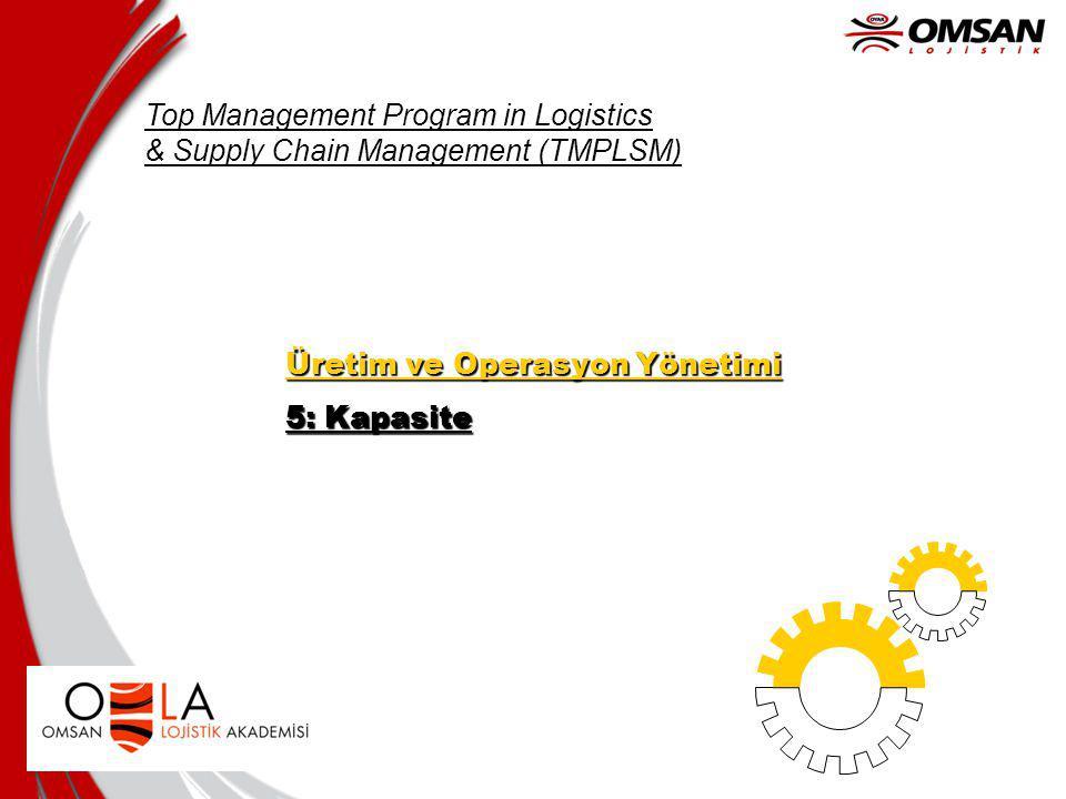Top Management Program in Logistics & Supply Chain Management (TMPLSM) Üretim ve Operasyon Yönetimi 5: Kapasite