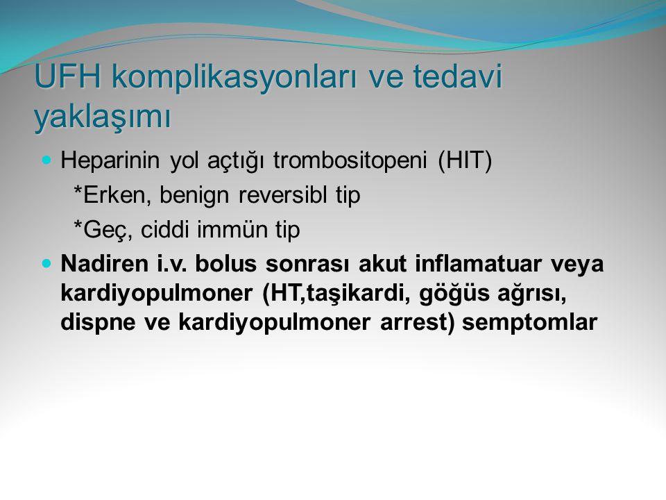 UFH komplikasyonları ve tedavi yaklaşımı Heparinin yol açtığı trombositopeni (HIT) *Erken, benign reversibl tip *Geç, ciddi immün tip Nadiren i.v. bol