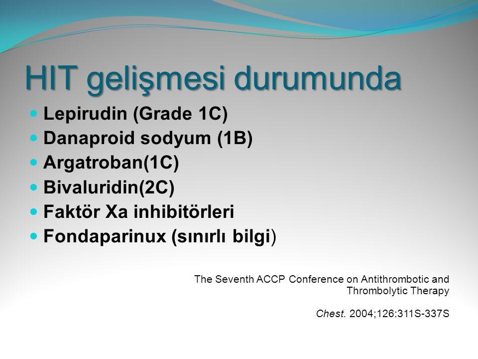 HIT gelişmesi durumunda Lepirudin (Grade 1C) Danaproid sodyum (1B) Argatroban(1C) Bivaluridin(2C) Faktör Xa inhibitörleri Fondaparinux (sınırlı bilgi)