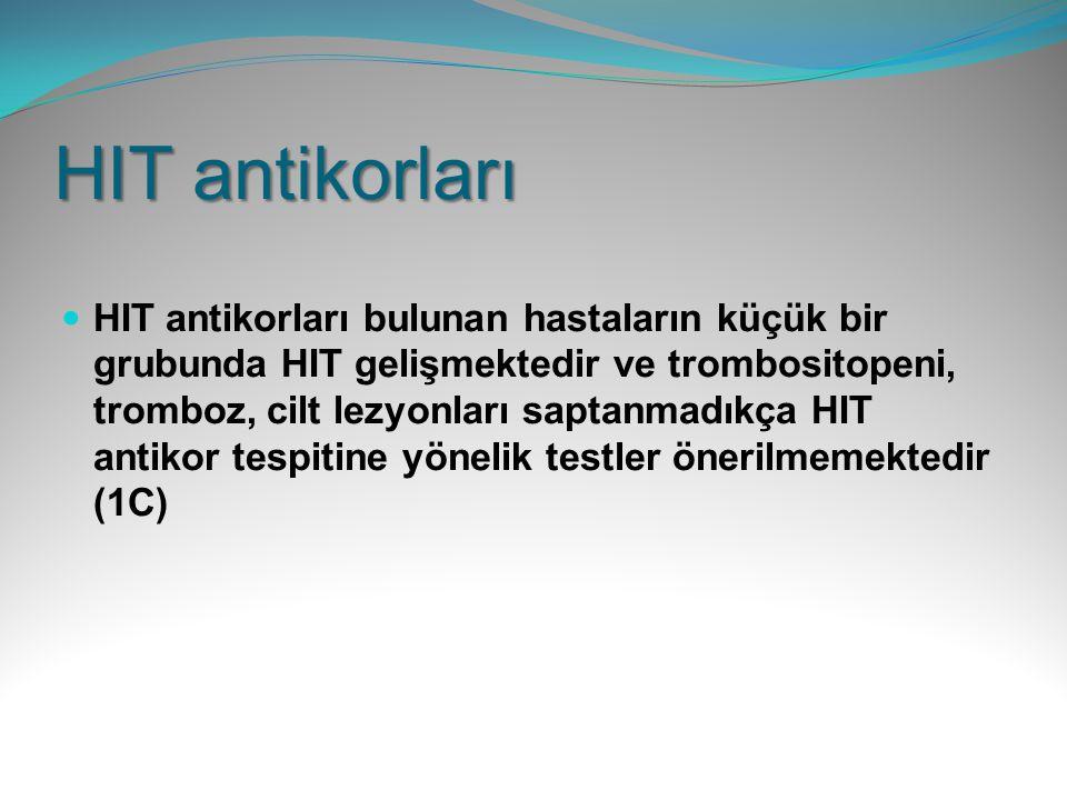 HIT antikorları HIT antikorları bulunan hastaların küçük bir grubunda HIT gelişmektedir ve trombositopeni, tromboz, cilt lezyonları saptanmadıkça HIT