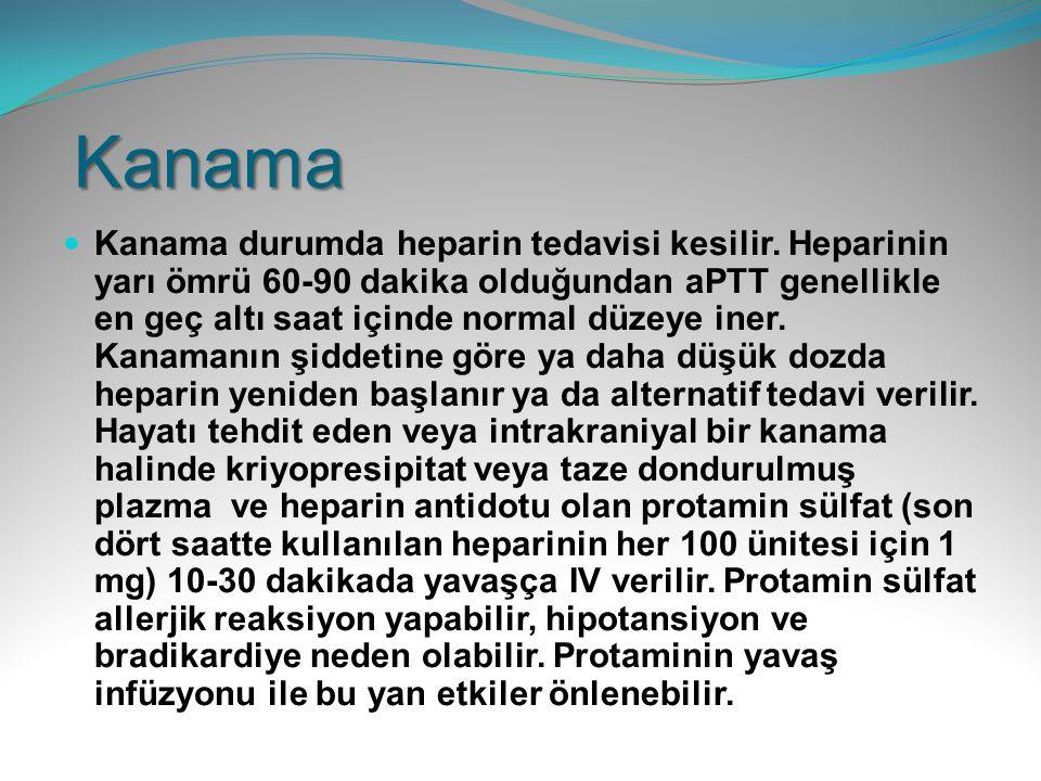 Kanama Kanama durumda heparin tedavisi kesilir. Heparinin yarı ömrü 60-90 dakika olduğundan aPTT genellikle en geç altı saat içinde normal düzeye iner