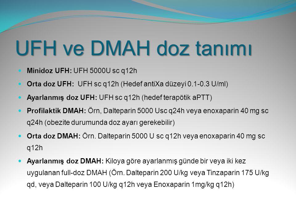 UFH ve DMAH doz tanımı Minidoz UFH: UFH 5000U sc q12h Orta doz UFH: UFH sc q12h (Hedef antiXa düzeyi 0.1-0.3 U/ml) Ayarlanmış doz UFH: UFH sc q12h (he