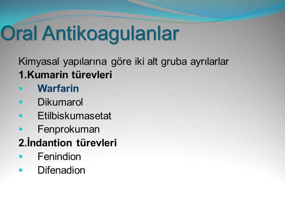 Oral Antikoagulanlar Kimyasal yapılarına göre iki alt gruba ayrılarlar 1.Kumarin türevleri  Warfarin  Dikumarol  Etilbiskumasetat  Fenprokuman 2.İ