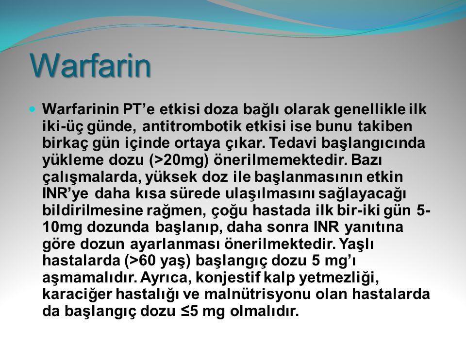 Warfarin Warfarinin PT'e etkisi doza bağlı olarak genellikle ilk iki-üç günde, antitrombotik etkisi ise bunu takiben birkaç gün içinde ortaya çıkar. T