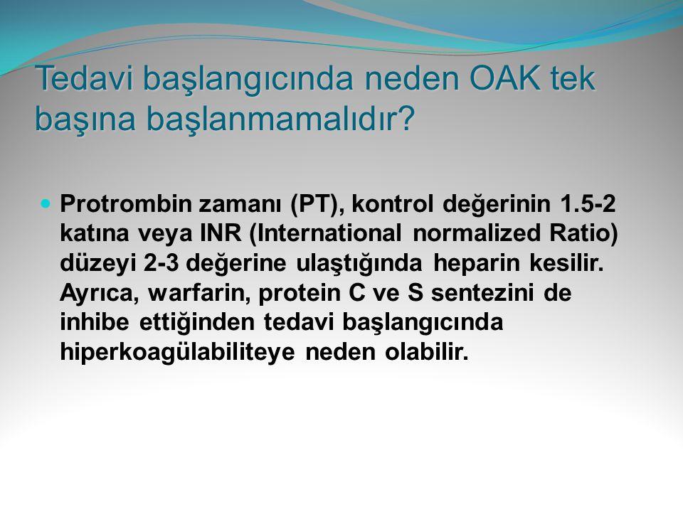 Tedavi başlangıcında neden OAK tek başına başlanmamalıdır? Protrombin zamanı (PT), kontrol değerinin 1.5-2 katına veya INR (International normalized R