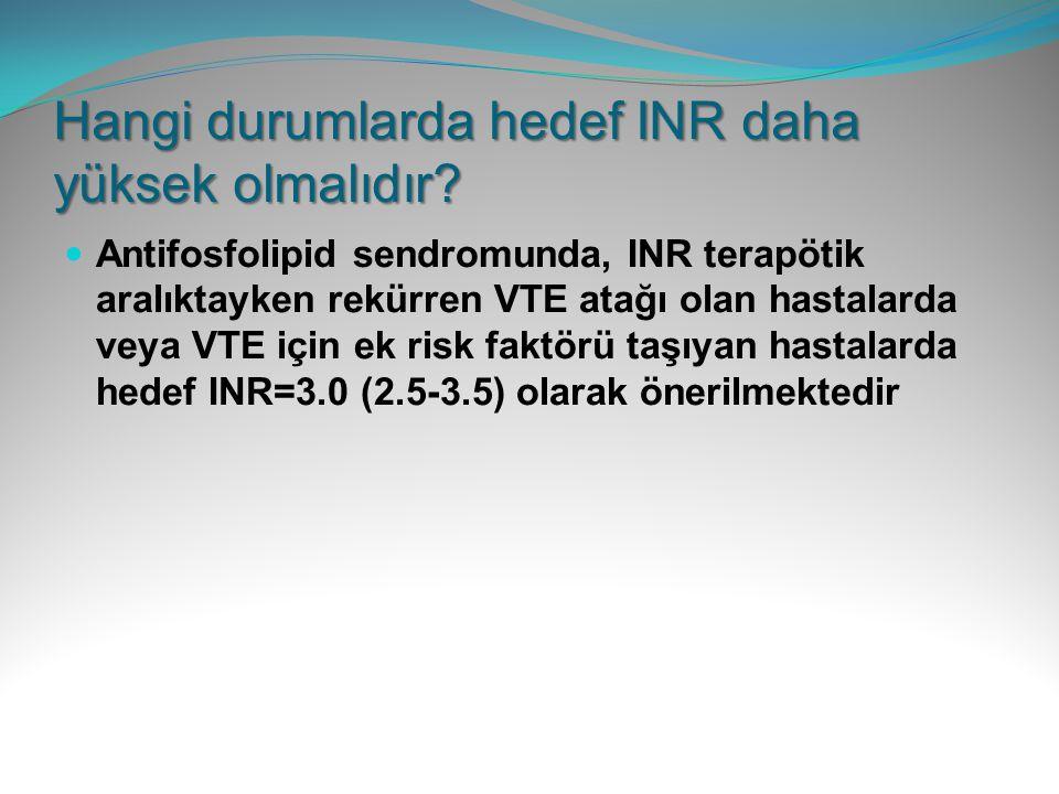 Hangi durumlarda hedef INR daha yüksek olmalıdır? Antifosfolipid sendromunda, INR terapötik aralıktayken rekürren VTE atağı olan hastalarda veya VTE i