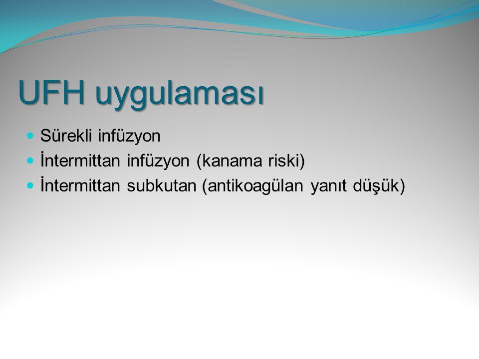 UFH uygulaması Sürekli infüzyon İntermittan infüzyon (kanama riski) İntermittan subkutan (antikoagülan yanıt düşük)
