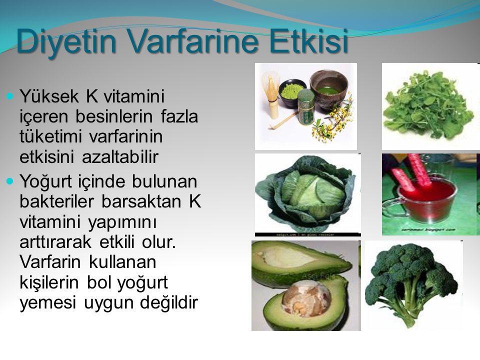 Diyetin Varfarine Etkisi Yüksek K vitamini içeren besinlerin fazla tüketimi varfarinin etkisini azaltabilir Yoğurt içinde bulunan bakteriler barsaktan