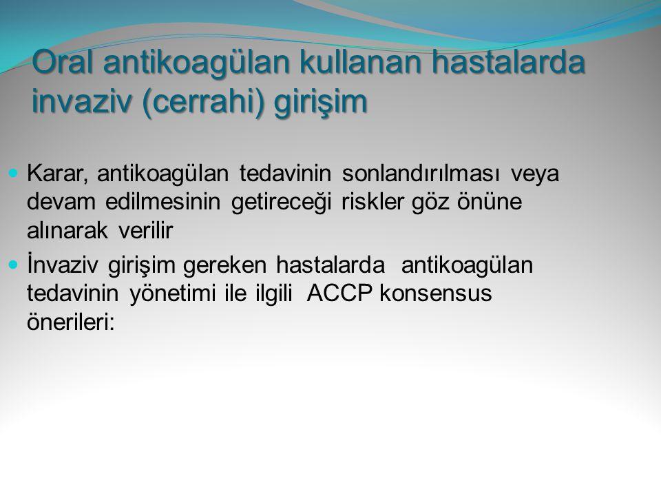 Oral antikoagülan kullanan hastalarda invaziv (cerrahi) girişim Karar, antikoagülan tedavinin sonlandırılması veya devam edilmesinin getireceği riskle