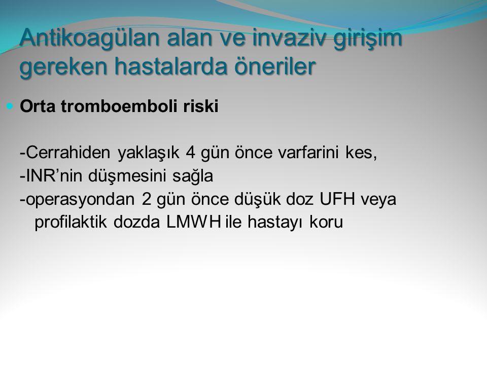 Orta tromboemboli riski -Cerrahiden yaklaşık 4 gün önce varfarini kes, -INR'nin düşmesini sağla -operasyondan 2 gün önce düşük doz UFH veya profilakti
