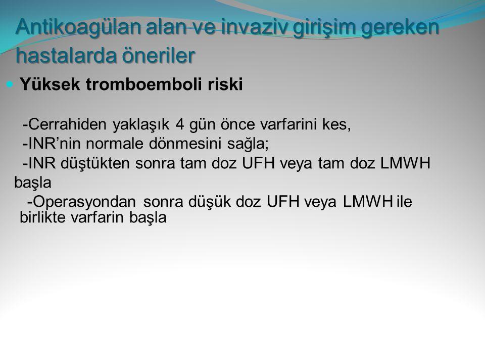Yüksek tromboemboli riski -Cerrahiden yaklaşık 4 gün önce varfarini kes, -INR'nin normale dönmesini sağla; -INR düştükten sonra tam doz UFH veya tam d