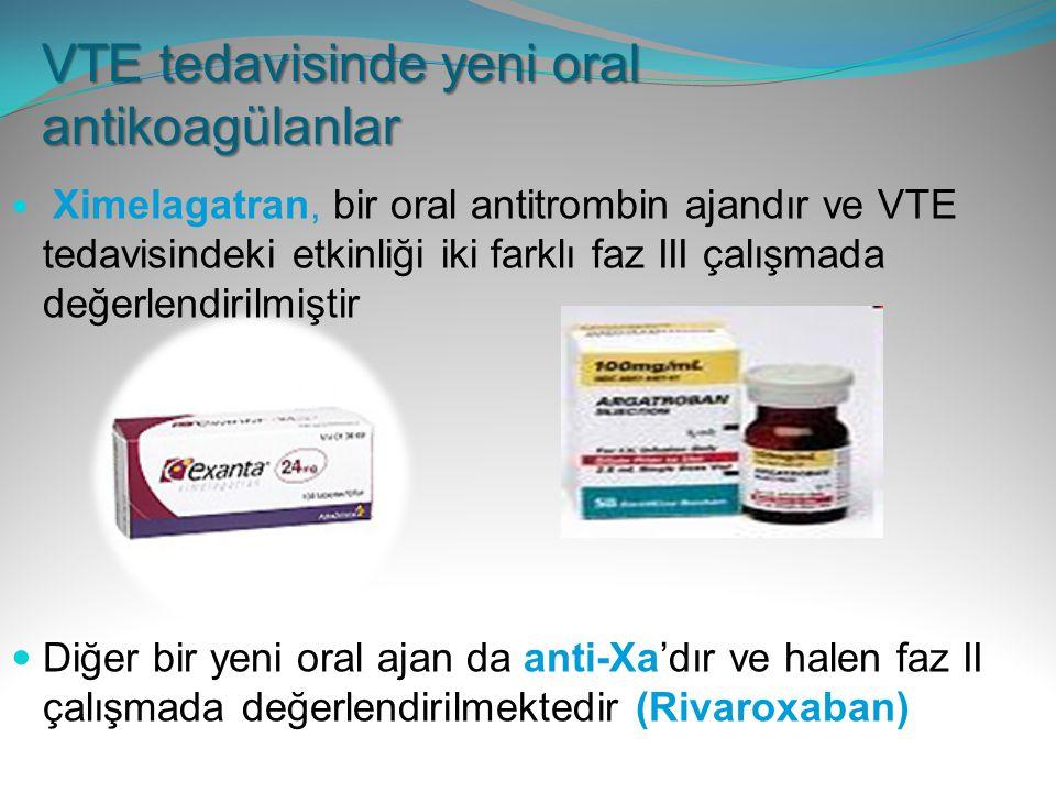 VTE tedavisinde yeni oral antikoagülanlar Ximelagatran, bir oral antitrombin ajandır ve VTE tedavisindeki etkinliği iki farklı faz III çalışmada değer