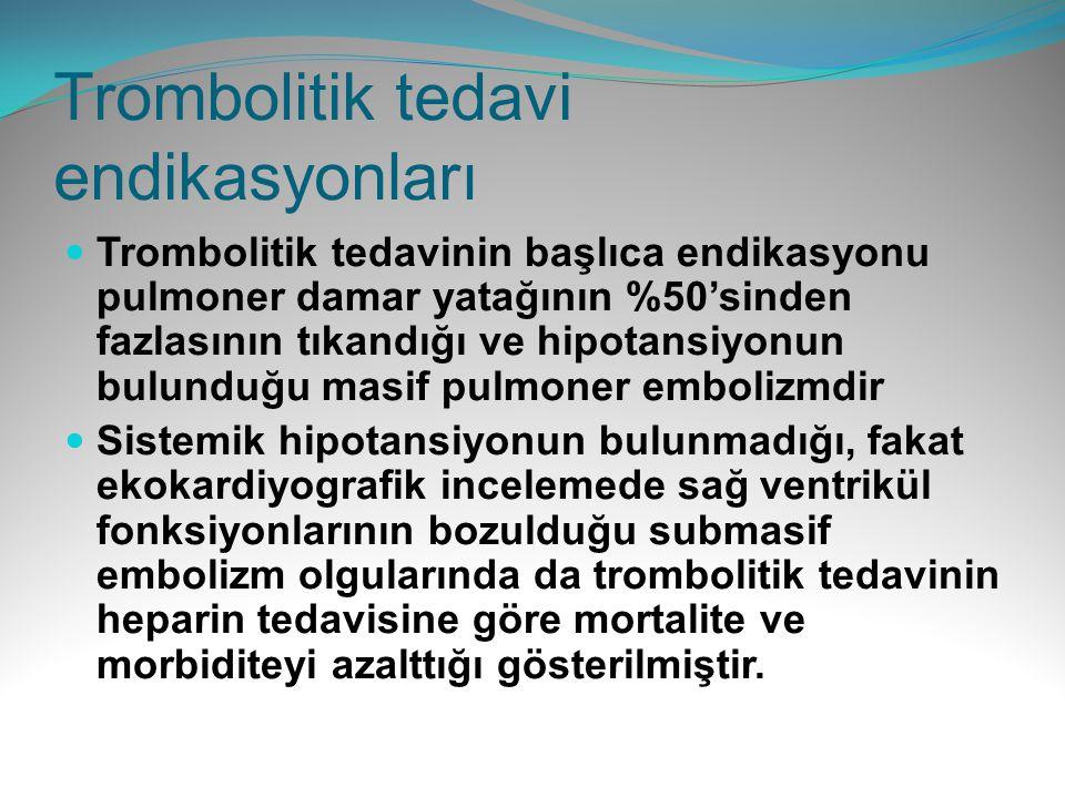 Trombolitik tedavi endikasyonları Trombolitik tedavinin başlıca endikasyonu pulmoner damar yatağının %50'sinden fazlasının tıkandığı ve hipotansiyonun