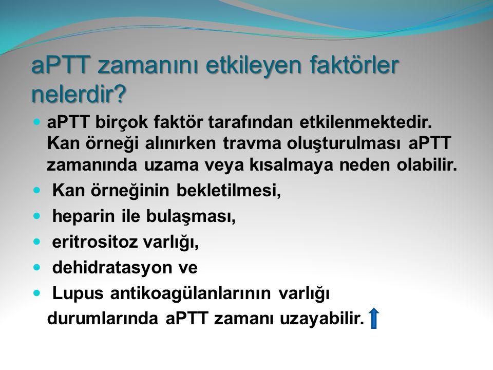 aPTT zamanını etkileyen faktörler nelerdir? aPTT birçok faktör tarafından etkilenmektedir. Kan örneği alınırken travma oluşturulması aPTT zamanında uz