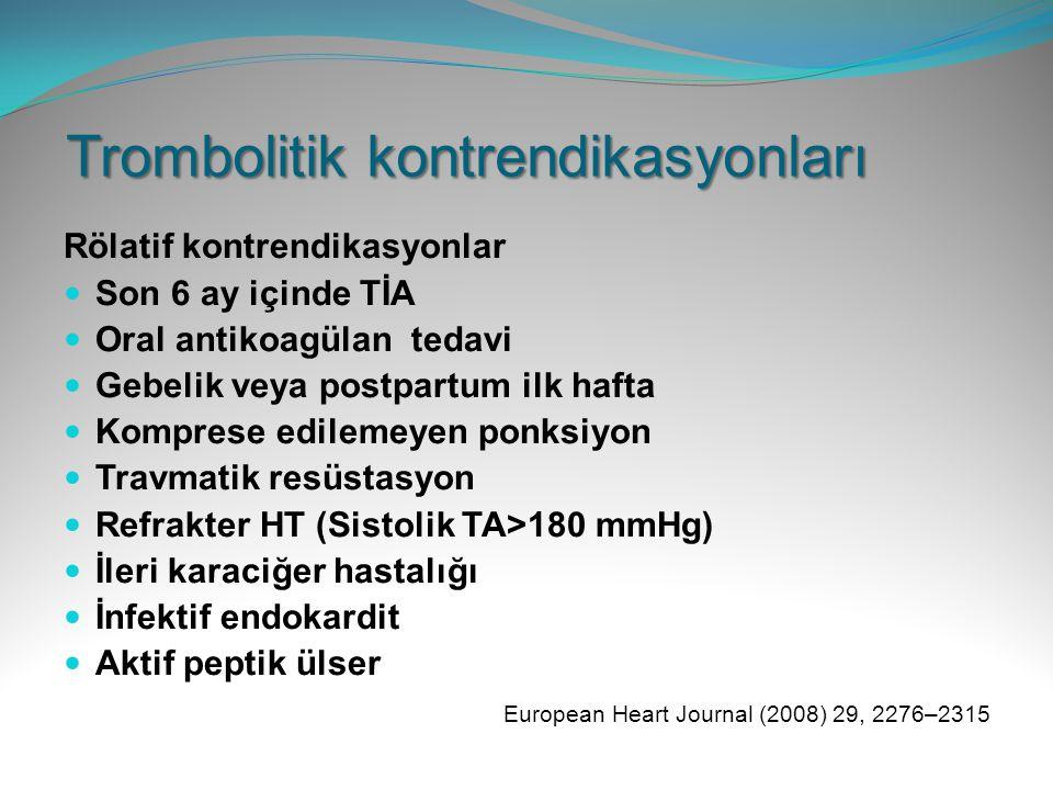 Trombolitik kontrendikasyonları Rölatif kontrendikasyonlar Son 6 ay içinde TİA Oral antikoagülan tedavi Gebelik veya postpartum ilk hafta Komprese edi