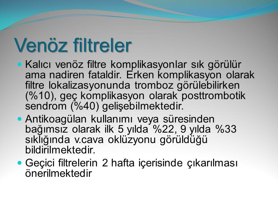 Venöz filtreler Kalıcı venöz filtre komplikasyonlar sık görülür ama nadiren fataldir. Erken komplikasyon olarak filtre lokalizasyonunda tromboz görüle