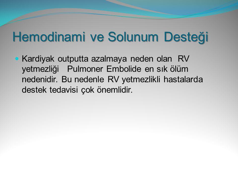 Hemodinami ve Solunum Desteği Kardiyak outputta azalmaya neden olan RV yetmezliği Pulmoner Embolide en sık ölüm nedenidir. Bu nedenle RV yetmezlikli h
