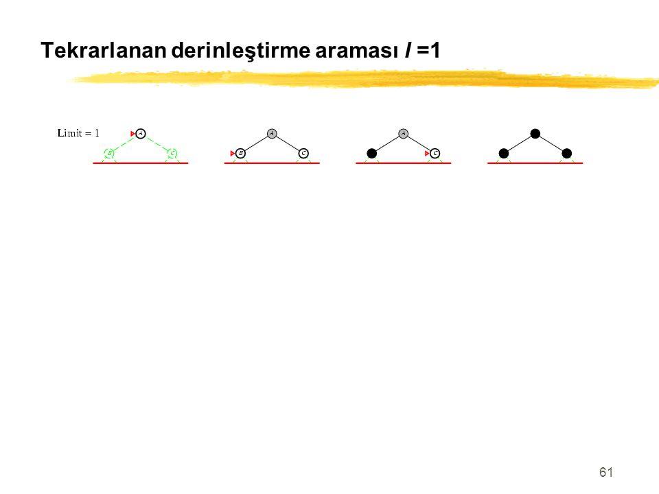 61 Tekrarlanan derinleştirme araması l =1