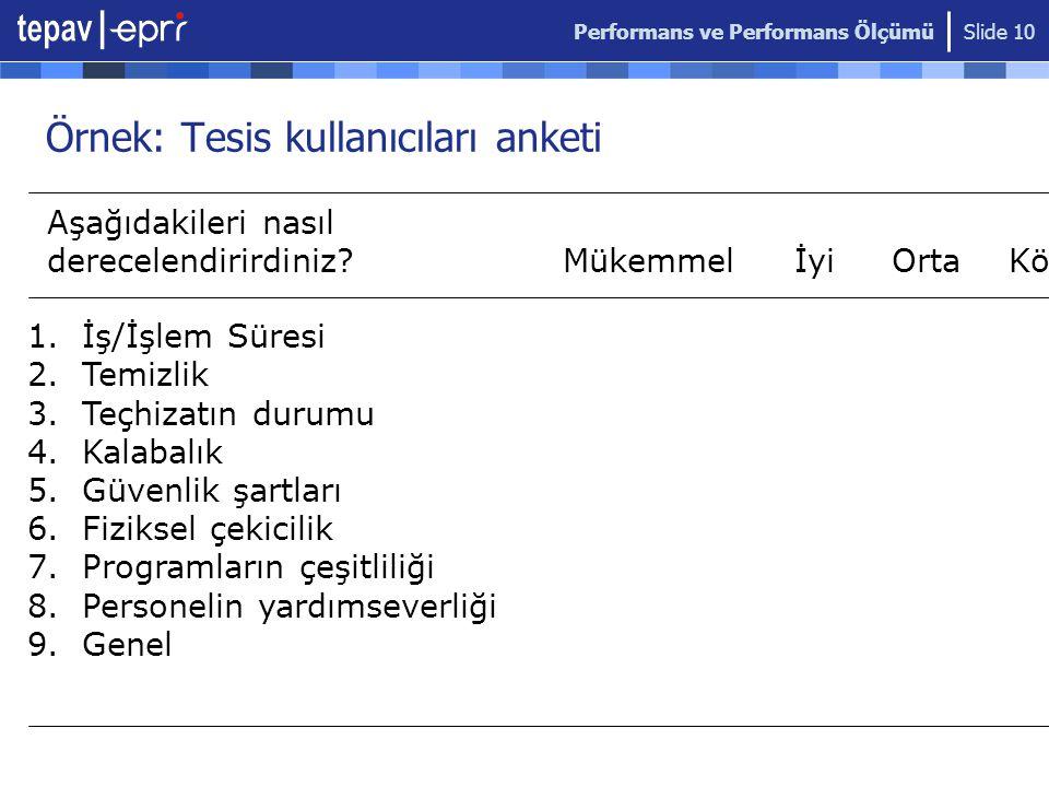 Performans ve Performans Ölçümü Slide 10 Örnek: Tesis kullanıcıları anketi Aşağıdakileri nasıl derecelendirirdiniz.