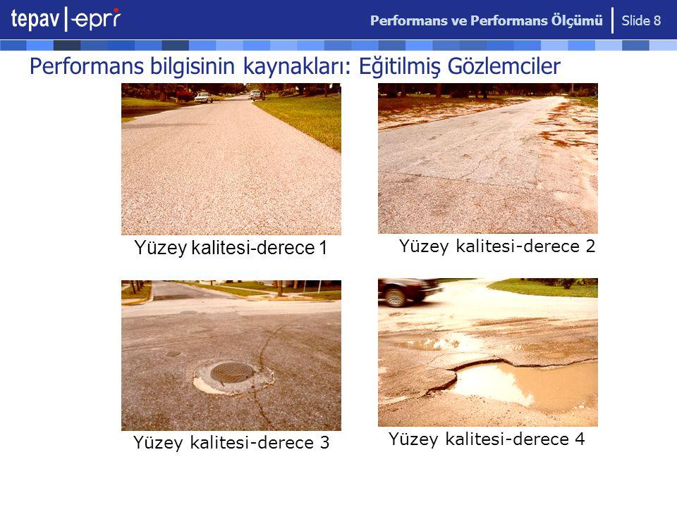 Performans ve Performans Ölçümü Slide 8 Performans bilgisinin kaynakları: Eğitilmiş Gözlemciler Yüzey kalitesi-derece 1 Yüzey kalitesi-derece 2 Yüzey kalitesi-derece 3 Yüzey kalitesi-derece 4