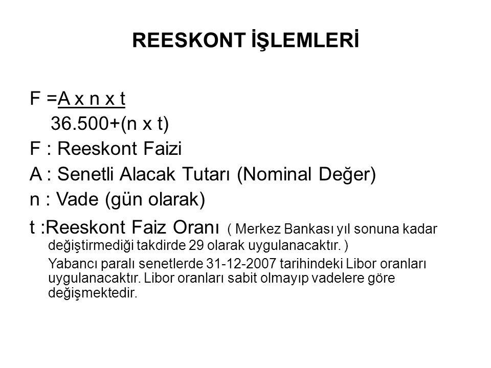 F =A x n x t 36.500+(n x t) F : Reeskont Faizi A : Senetli Alacak Tutarı (Nominal Değer) n : Vade (gün olarak) t :Reeskont Faiz Oranı ( Merkez Bankası