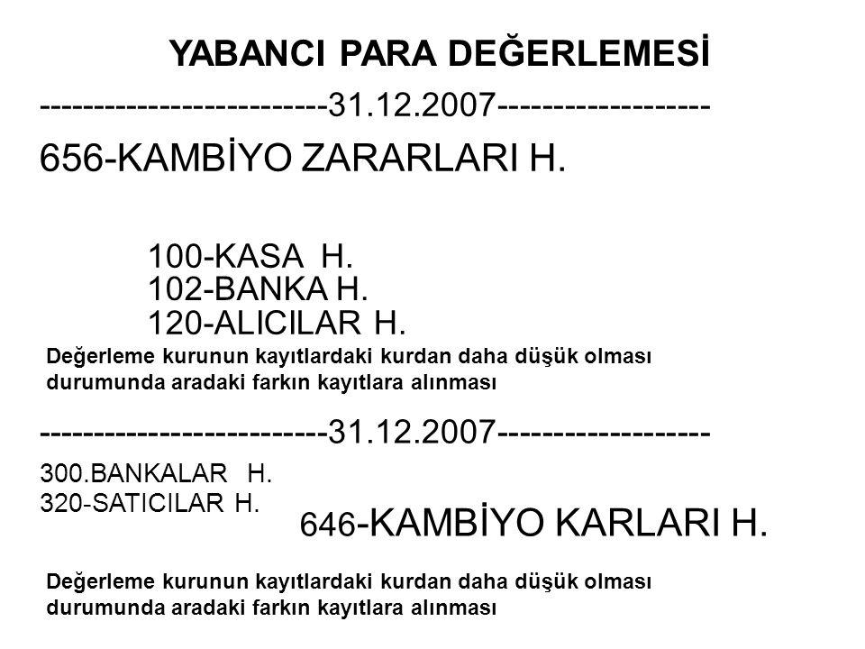 YABANCI PARA DEĞERLEMESİ --------------------------31.12.2007------------------- 656-KAMBİYO ZARARLARI H. 100-KASA H. Değerleme kurunun kayıtlardaki k