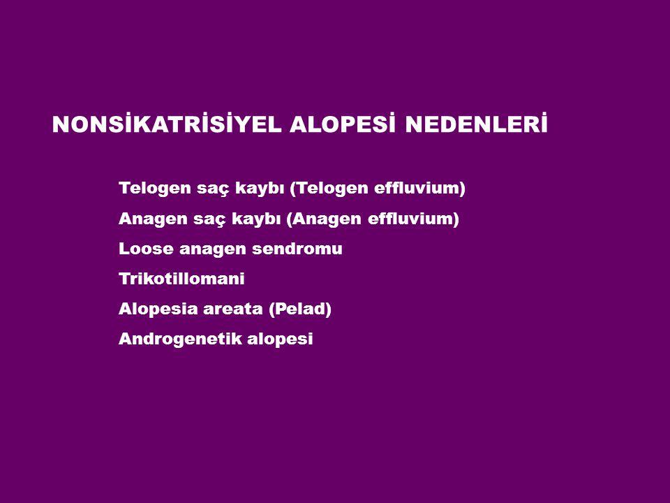 NONSİKATRİSİYEL ALOPESİ NEDENLERİ Telogen saç kaybı (Telogen effluvium) Anagen saç kaybı (Anagen effluvium) Loose anagen sendromu Trikotillomani Alope