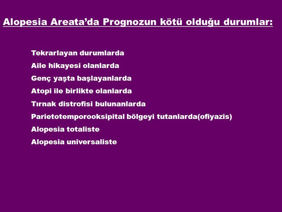 Alopesia Areata'da Prognozun kötü olduğu durumlar: Tekrarlayan durumlarda Aile hikayesi olanlarda Genç yaşta başlayanlarda Atopi ile birlikte olanlard