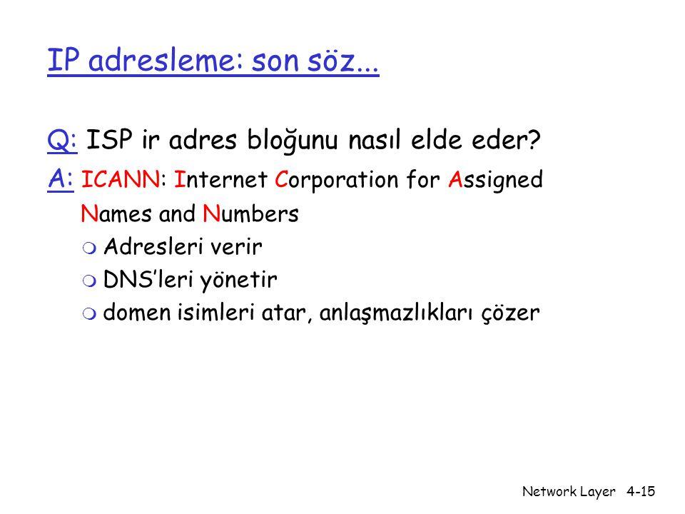 Network Layer4-15 IP adresleme: son söz... Q: ISP ir adres bloğunu nasıl elde eder? A: ICANN: Internet Corporation for Assigned Names and Numbers m Ad
