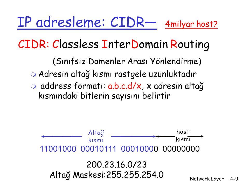 Network Layer4-9 IP adresleme: CIDR— 4milyar host? CIDR: Classless InterDomain Routing (Sınıfsız Domenler Arası Yönlendirme) m Adresin altağ kısmı ras