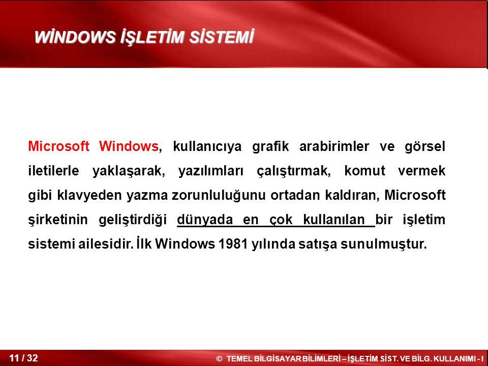 © TEMEL BİLGİSAYAR BİLİMLERİ – İŞLETİM SİST. VE BİLG. KULLANIMI - I 11 / 32 WİNDOWS İŞLETİM SİSTEMİ Microsoft Windows, kullanıcıya grafik arabirimler