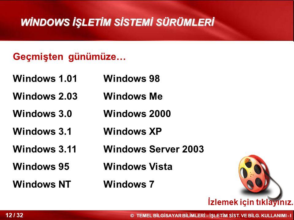 © TEMEL BİLGİSAYAR BİLİMLERİ – İŞLETİM SİST. VE BİLG. KULLANIMI - I 12 / 32 WİNDOWS İŞLETİM SİSTEMİ SÜRÜMLERİ Windows 1.01 Windows 2.03 Windows 3.0 Wi