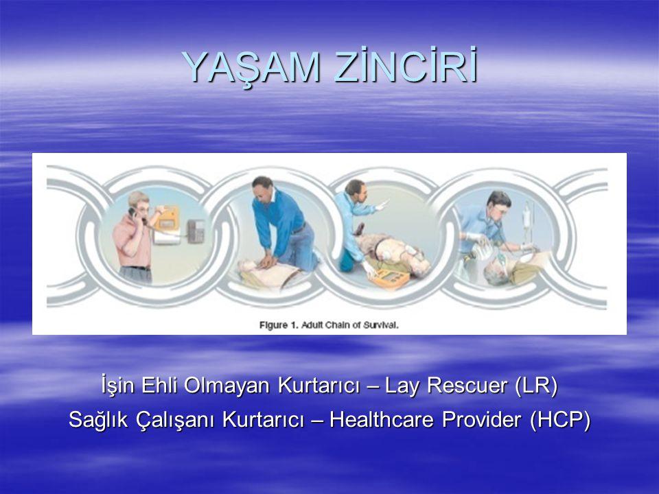 YAŞAM ZİNCİRİ İşin Ehli Olmayan Kurtarıcı – Lay Rescuer (LR) Sağlık Çalışanı Kurtarıcı – Healthcare Provider (HCP)