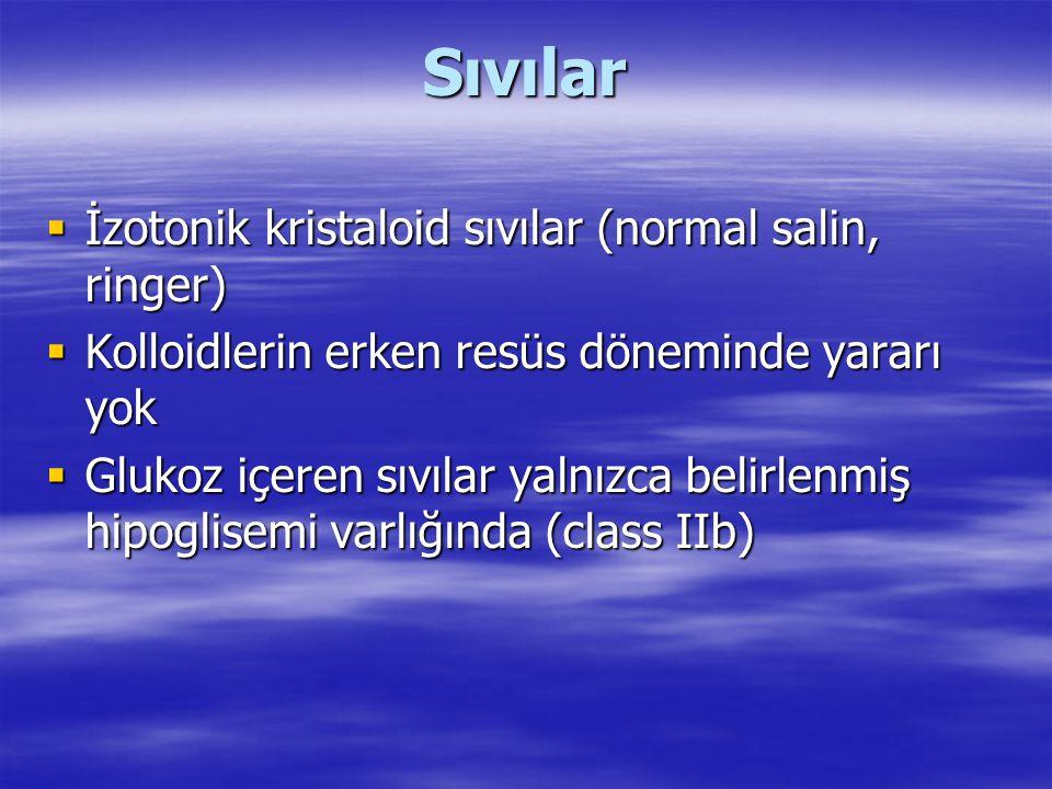Sıvılar  İzotonik kristaloid sıvılar (normal salin, ringer)  Kolloidlerin erken resüs döneminde yararı yok  Glukoz içeren sıvılar yalnızca belirlen