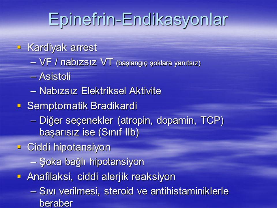 Epinefrin-Endikasyonlar  Kardiyak arrest –VF / nabızsız VT (başlangıç şoklara yanıtsız) –Asistoli –Nabızsız Elektriksel Aktivite  Semptomatik Bradik
