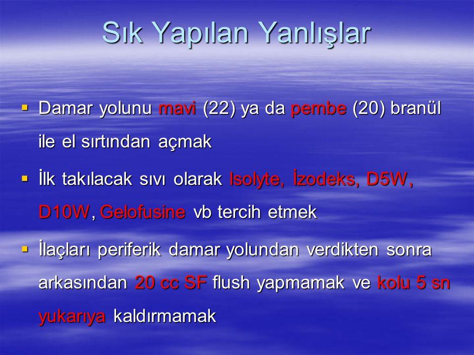 Sık Yapılan Yanlışlar  Damar yolunu mavi (22) ya da pembe (20) branül ile el sırtından açmak  İlk takılacak sıvı olarak Isolyte, İzodeks, D5W, D10W,