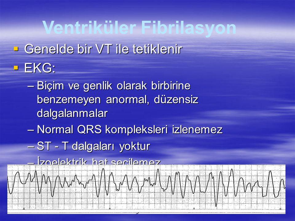  Genelde bir VT ile tetiklenir  EKG: –Biçim ve genlik olarak birbirine benzemeyen anormal, düzensiz dalgalanmalar –Normal QRS kompleksleri izlenemez