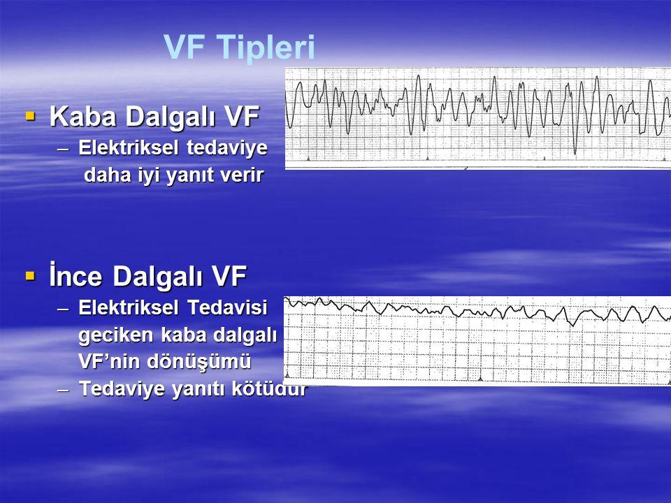  Kaba Dalgalı VF –Elektriksel tedaviye daha iyi yanıt verir daha iyi yanıt verir  İnce Dalgalı VF –Elektriksel Tedavisi geciken kaba dalgalı VF'nin