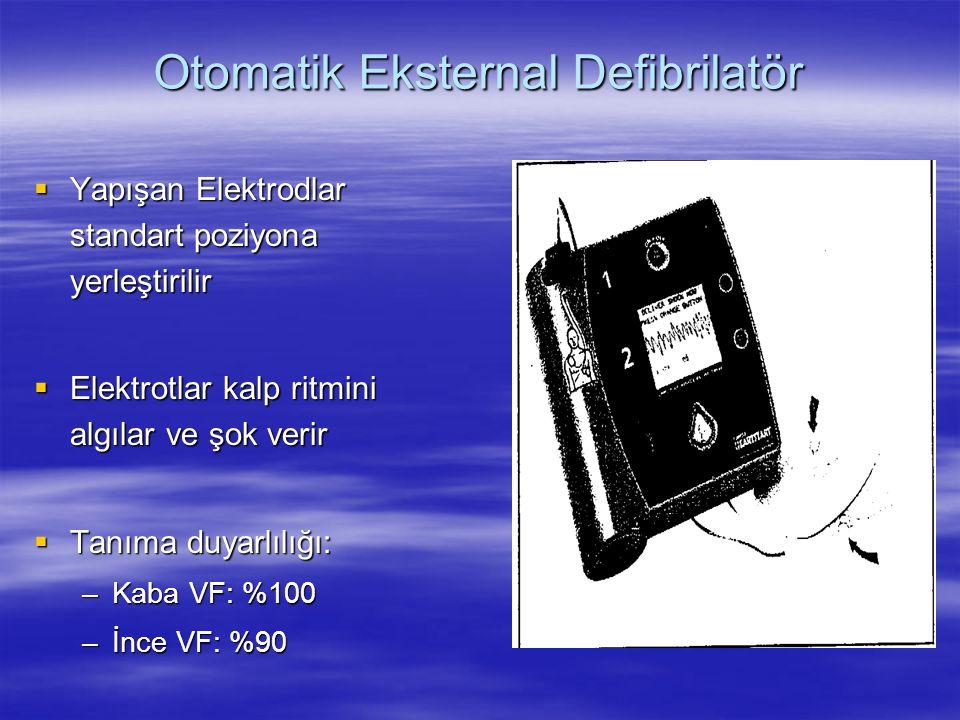  Yapışan Elektrodlar standart poziyona yerleştirilir  Elektrotlar kalp ritmini algılar ve şok verir  Tanıma duyarlılığı: –Kaba VF: %100 –İnce VF: %