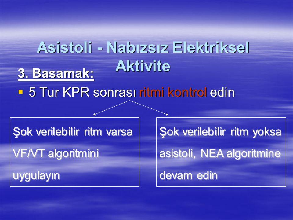 Asistoli - Nabızsız Elektriksel Aktivite 3. Basamak:  5 Tur KPR sonrası ritmi kontrol edin Şok verilebilir ritm varsa VF/VT algoritmini uygulayın Şok