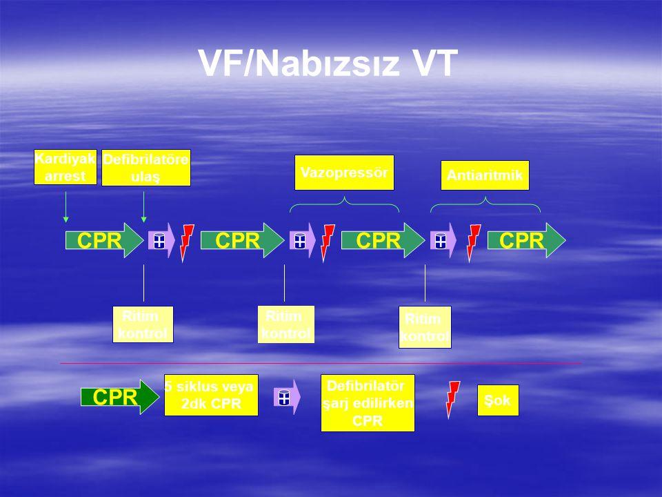 CPR +++ Ritim kontrol Ritim kontrol Defibrilatöre ulaş Kardiyak arrest Ritim kontrol Antiaritmik Vazopressör CPR + 5 siklus veya 2dk CPR Şok Defibrila