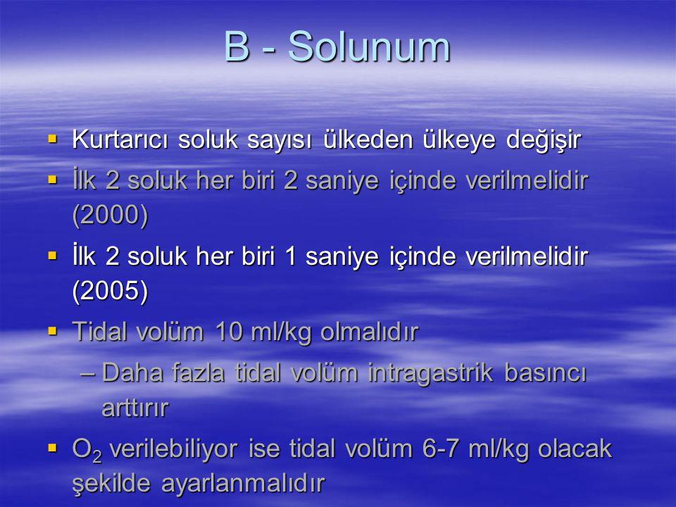 B - Solunum  Kurtarıcı soluk sayısı ülkeden ülkeye değişir  İlk 2 soluk her biri 2 saniye içinde verilmelidir (2000)  İlk 2 soluk her biri 1 saniye