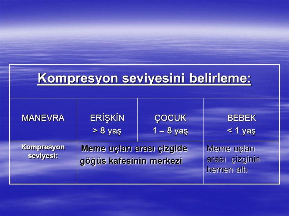 Kompresyon seviyesini belirleme: MANEVRAERİŞKİN > 8 yaş ÇOCUK 1 – 8 yaş BEBEK < 1 yaş Kompresyon seviyesi: Meme uçları arası çizgide Meme uçları arası