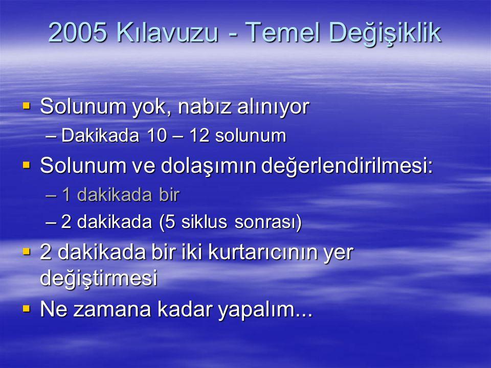 2005 Kılavuzu - Temel Değişiklik  Solunum yok, nabız alınıyor –Dakikada 10 – 12 solunum  Solunum ve dolaşımın değerlendirilmesi: –1 dakikada bir –2