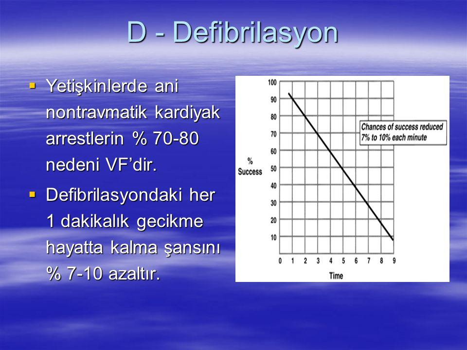 D - Defibrilasyon  Yetişkinlerde ani nontravmatik kardiyak arrestlerin % 70-80 nedeni VF'dir.  Defibrilasyondaki her 1 dakikalık gecikme hayatta kal